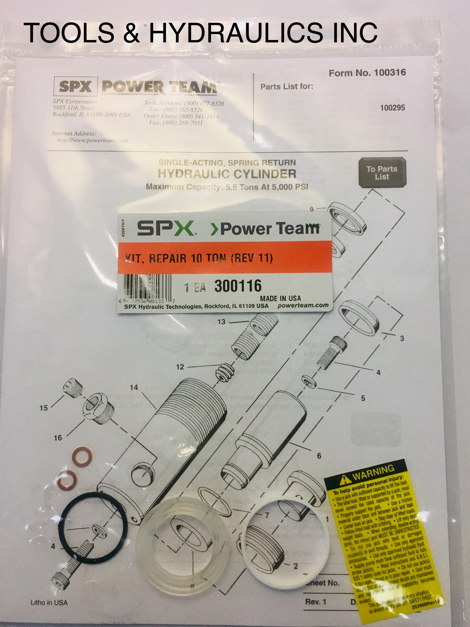 Power Team//SPX Cylinder 10 Ton Seal Replacement Kit 4104-NP OTC